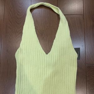 Basic pale yellow halter tank top